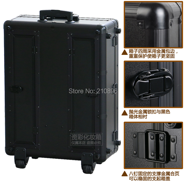Luggage & Travel Bags Aluminum Fashion Makeup Artists Box With Led Lights Beuaty Case Professional Lighted Cosmetic Luggage Making Things Convenient For Customers Rolling Luggage
