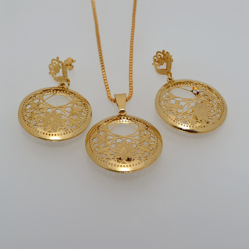 New Women Chain Bridal 18k Gold Plated Earring Necklace Jewelry Sets