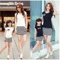 Мода летний набор одежды для матери и дочери полосой спорта юбка установить соответствующие мать дочь одежда