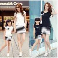 Family Fashion Summer Set 2016 Summer Clothes For Mother And Daughter Stripe Set Parent Child Set