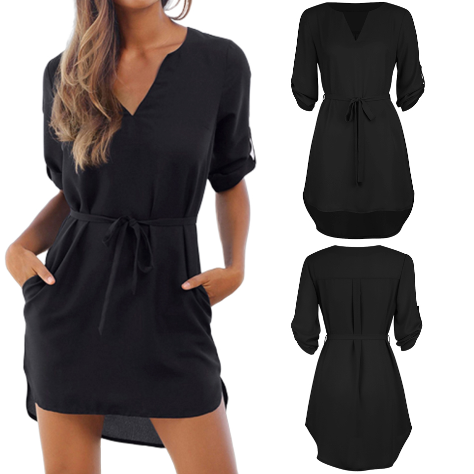 Chiffon Sundress Casual V Neck Dresses With Pockets For Women Loose Sukienka Fashion Beach Robe Femme Ete 2019 Plain Dress Kleid