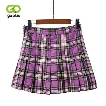 GOPLUS Women Fashion Summer High Waist Pleated Skirt Korean Harajuku Plaid Skirts Kawaii Female Preppy Chic Mini Skirts C5741 Юбка