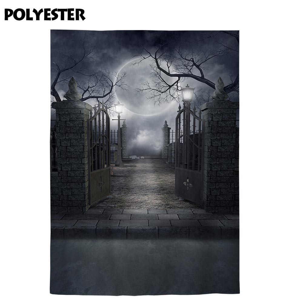 Allenjoy Halloween backdrops photozone night iron gate Moon Cemetery fotografia photographic photo studio background wallpaper in Background from Consumer Electronics