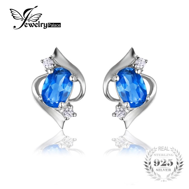 JewelryPalace Blue Topazs Stud Earrings Genuine 925 Sterling Silver Jewelry For Women Fashion Engagement Wedding Gift For Lovers