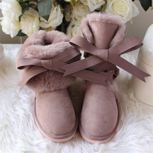 Winter Shoes Snow-Boots Botas Genuine-Sheepskin-Leather Waterproof Mujer Women Fur