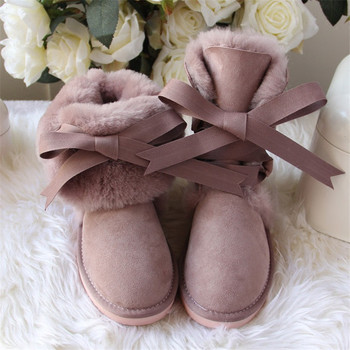 New Arrival 100% Real Fur Classic Mujer Botas Waterproof Genuine Sheepskin Leather Snow Boots Winter Shoes for Women