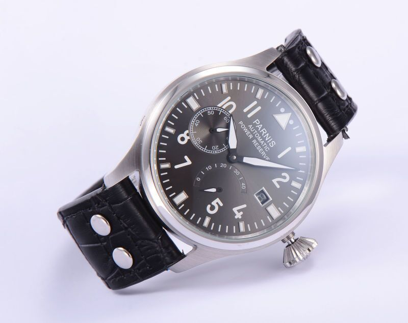 46mm Parnis Luminous Numbers Automatic Movement Gray Dial Men s Wristwatch Power Reserve Date