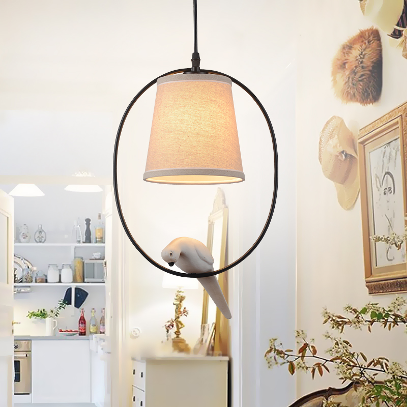 Nordic LOFT country artistic personality Pendant Lights restaurant bedroom study pastoral personality Resin bird image