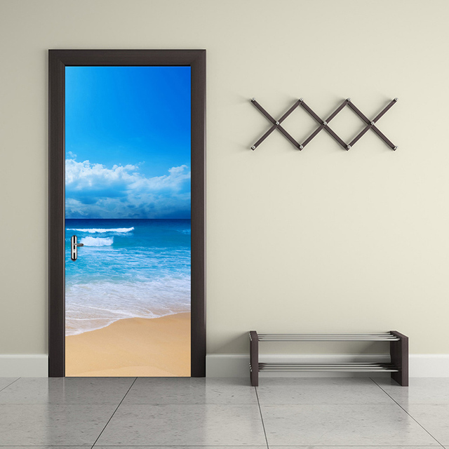 Sea View New Diy Door Mural Wallpaper Sticker Modern Simple Bedroom