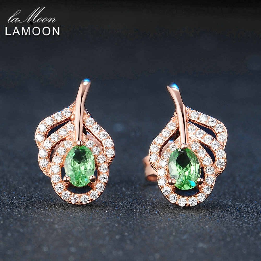 LAMOON 925 Sterling Silver Earrings For Women Peridot Gemstone Stud Earring 18K Rose Gold Plated Leaf Shape Fine Jewelry LMEI021