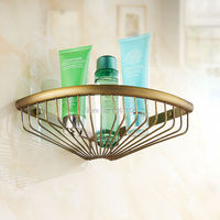 Free Shipping 30CM Bathroom Kitchen Wall Mount Corner Basket Shelf Antique Brass Finish Shampoo Hanger Shelf