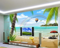 Fashion Beach Scenery HD TV Backdrop 3d Wallpaper Flower Stereoecopic Wallpaper Home Decoration