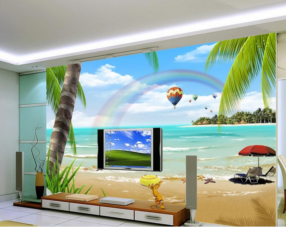 Fashion beach scenery hd tv backdrop 3d wallpaper flower for 3d wallpaper for home decoration