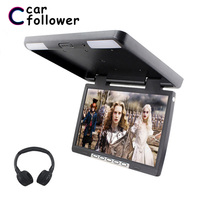 15.4 Inch Monitor HD 1080P Car Roof Screen 180 Angle Flip Down Mount MP5 Player Support USB/SD/Sperker/IR/FM Transmitter
