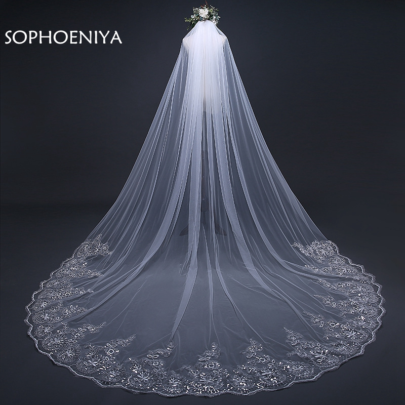 3 Meter White Ivory Veil Cathedral Wedding Veils Long Lace Edge Bridal Veil With Comb Wedding Accessories Bride Veu Wedding Veil