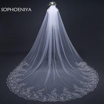 0613604693 3 metros blanco marfil velo Catedral boda velos de largo encaje borde velo  de novia