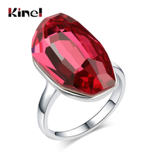 Kinel Hot Unique Big Crystal Rings For Women Fashion Silver Color Punk Jewelry 5 Colors Glass Rhinestone Ring Wholesale 2018 New 2018 new rings with 5 colors 14 mm shell pearl for women ladies wholesale jewelry flower lotus leaf fashion crystal large ring