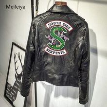 Women Riverdale Leather Jackets Winter Slim Motorcycle Bomber Jacket Coats South Side Serpents Printed Black Wine Red(China)