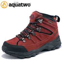 AQUA TWO Outdoor Camping Women Sports Hiking Shoes Genuine Leather Walking Sneakers Wear-Resistance Shoes Women HDS-100943