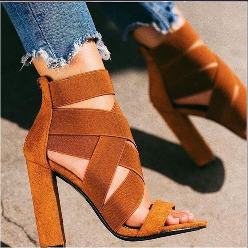 New Women Gladiator Pump Platform High Thick Heel Elastic Band Open Toe Platform Wedding Ladies Sandal Shoes Zapatos Mujer 8518W