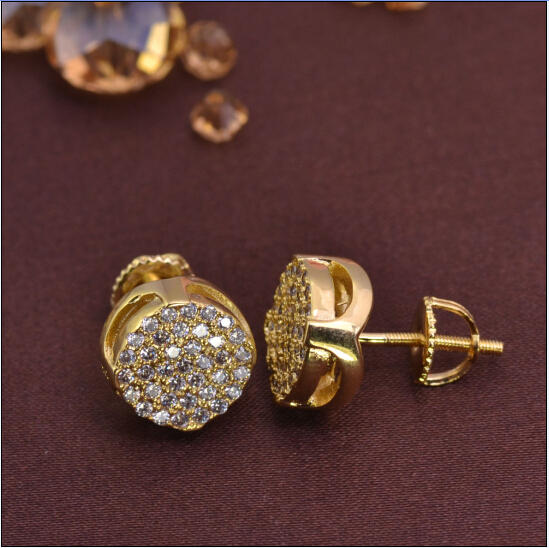 LSE839 18k Gold Plated Cz Micro Pave Iced Out Stud ...