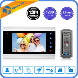 7 дюймовый ЖК-видео дверной звонок монитор домофон 1200TVL уличная камера IP65 дверной телефон ночное видение разблокировка домофон система SD за...