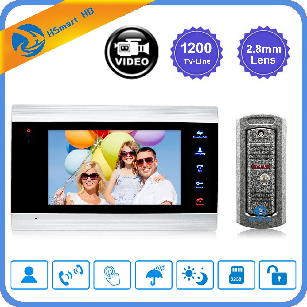 "7"" inch LCD Video Doorbell Monitor Intercom 1200TVL Outdoor Camera IP65 Door Phone Night Vision Unlock Intercom System SD Record-in Video Intercom from Security & Protection"