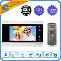 7 inch LCD Video Doorbell Monitor Intercom 1200TVL Outdoor Camera IP65 Door Phone Night Vision Unlock Intercom System SD Record