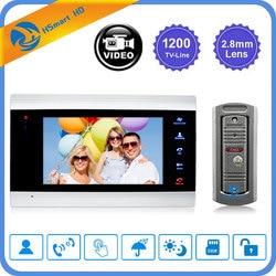 7 pulgadas LCD timbre Video Monitor intercomunicador 1200TVL Cámara al aire libre IP65 de la puerta teléfono noche visión desbloquear el sistema de intercomunicación SD registro