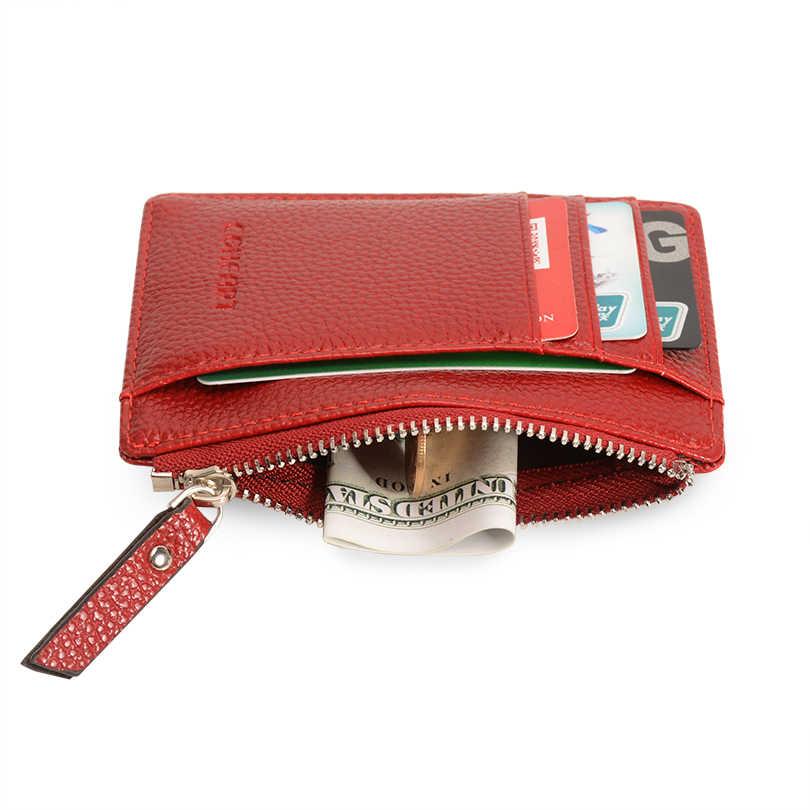Cartera de cuero de alta calidad con soporte para tarjetas, cartera pequeña con bolsillo para monedas, cartera para hombre, monedero para mujer, 8 ranuras para tarjetas, 1 cremallera bolsillo