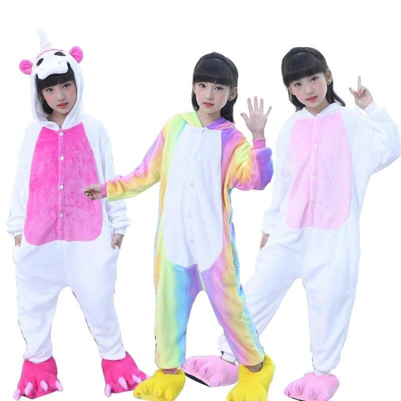d19569d76 Children's Pajamas for Boys Girls Kigurumi Unicorn Pajamas Flannel Kids  Stich Pijamas Set Animal Sleepwear Winter