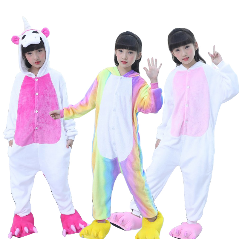 Children's Pajamas For Boys Girls Kigurumi Unicorn Pajamas Flannel Kids Stich Pijamas Set Animal Sleepwear Winter Onesies 4-12 T