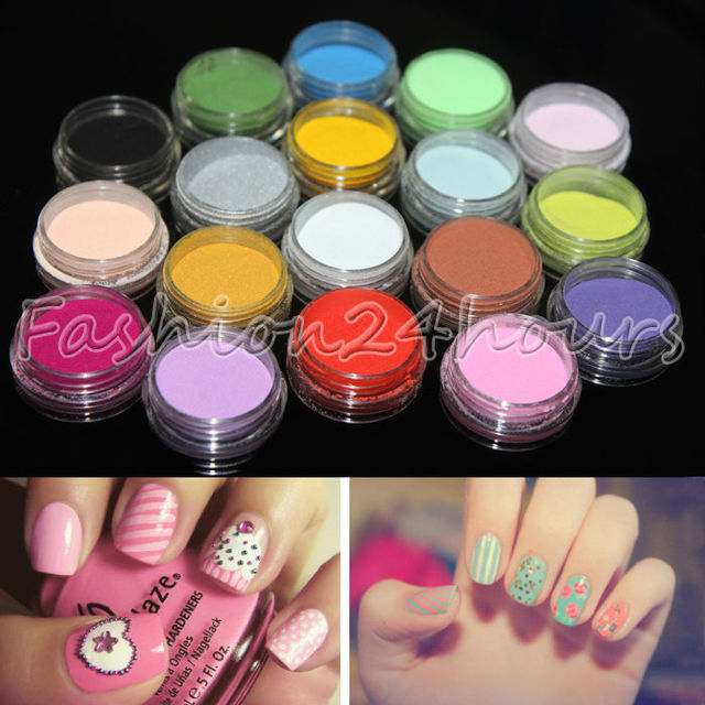 18 Pots Different Colors Acrylic Powder Dust Glitter Jumbo Set for Professional Nail Design Free Shipping
