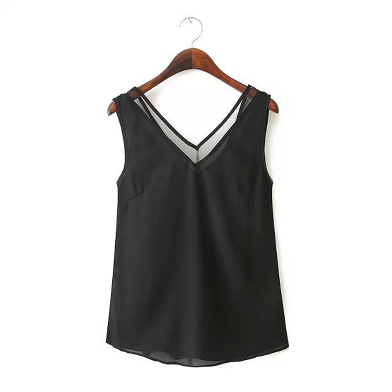 Long V Neck Tanks Solid Camis Female Loose Chiffon Patchwork Mesh Vest Girls Slim Tee Tops