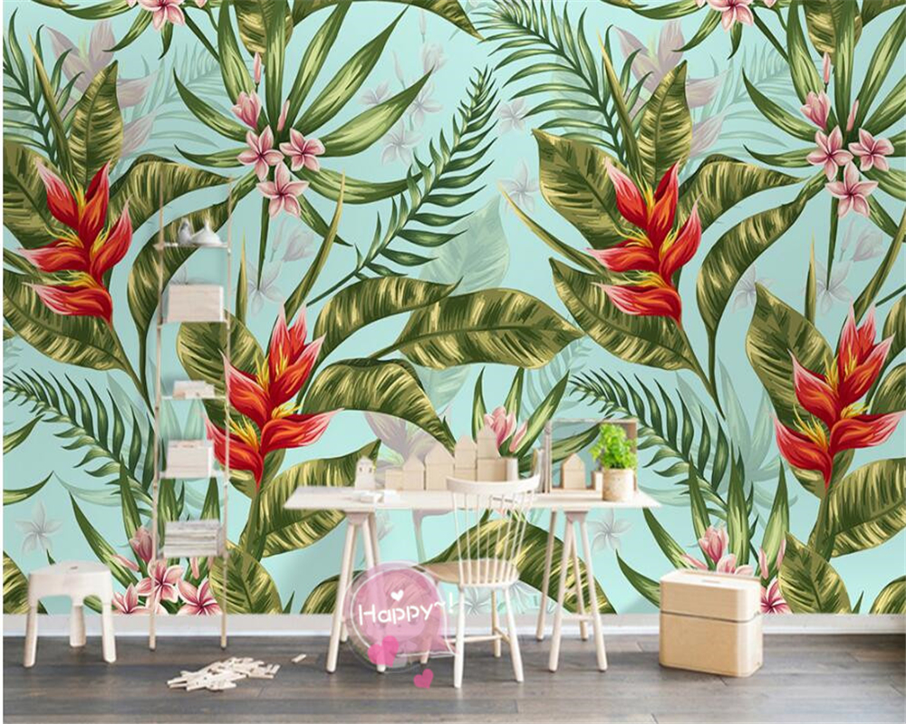popular tropical wall murals buy cheap tropical wall murals lots beibehang wall paper customize any size fashion wallpaper nordic simple tropical plant background wall murals papel