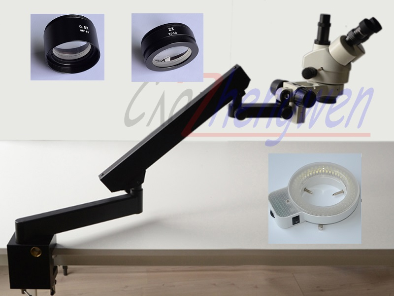 FYSCOPE 3.5X-90X STEREO ZOOM MICROSCOPE +ARTICULATING STAND WITH CLAMP+144LED цена