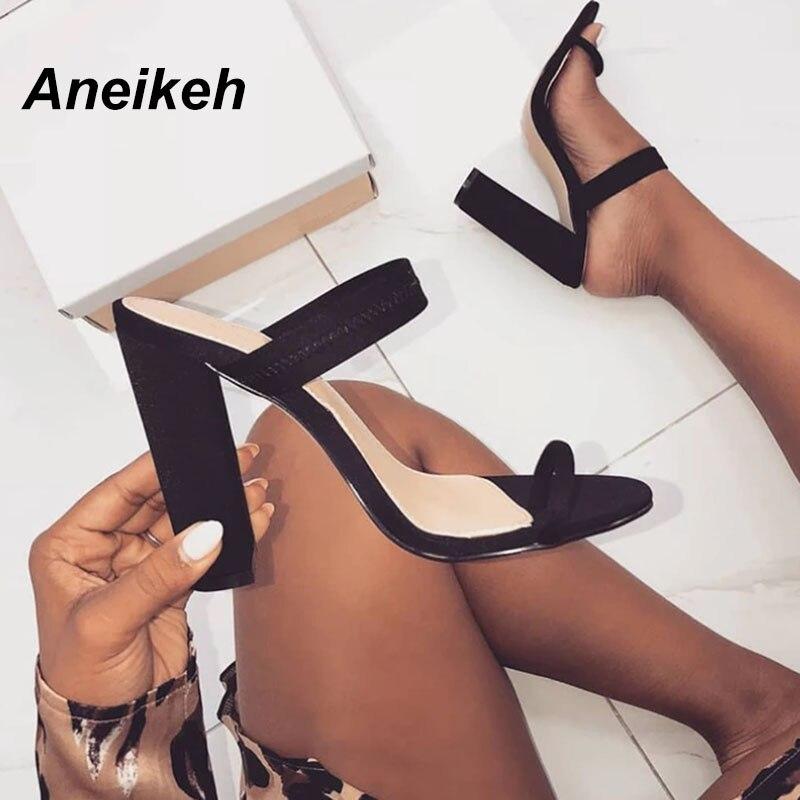 Aneikeh/Новинка 2019 года, летние сандалии, шлепанцы из эластичной ткани на тонком высоком каблуке, шлепанцы с пряжкой, женская обувь на полой подошве, пикантные туфли лодочки, шлепанцы