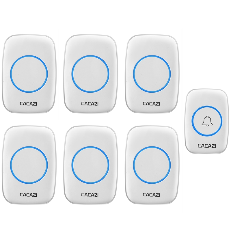 CACAZI 38 Chimes Home Waterproof Doorbell 100-240V EU/UK Plug Wireless Door Bell 1 Push Button+6 Doorbell Receivers door ring cacazi ac 110 220v wireless doorbell 1 transmitter 6 receivers eu us uk plug 300m remote door bell 3 volume 38 rings door chime