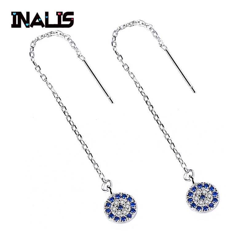 INALIS New Real 925 Sterling Silver Ear Line Long Chain with Clear Blue CZ Crystal Round Pendant Dangle Drop Earrings for WomenINALIS New Real 925 Sterling Silver Ear Line Long Chain with Clear Blue CZ Crystal Round Pendant Dangle Drop Earrings for Women