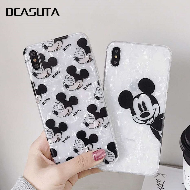 Minnie Mickey Cartoon Paar Liebhaber Conch Shell Telefon Fall für <font><b>iPhone</b></font> <font><b>X</b></font> <font><b>Xs</b></font> <font><b>Max</b></font> XR 8 8 Plus 7 7 plus 6 6 s Plus weiche Abdeckung image