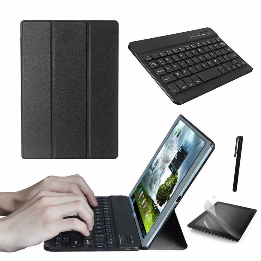 New Super Thin Professional Tablet Smart Leather Case Cover + Bluetooth Keyboard + Screen Protect Film + Stylus Pen For iPad pro