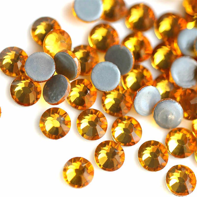 Желтое Золото Стразы горячего крепления кристалл с плоской задней гранью стекло для одежды брюки украшения топаз цвет термоклеевые Стразы Патчи 5 мм