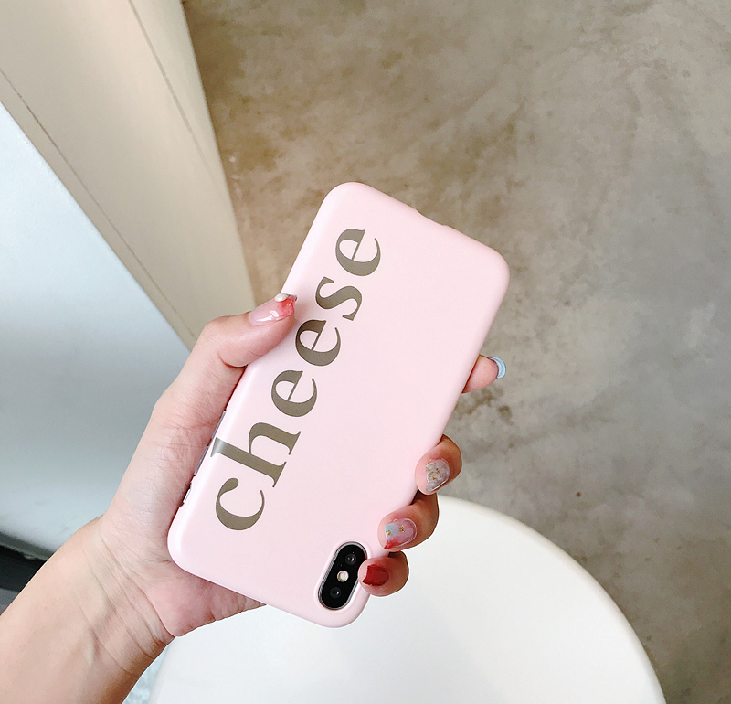 Mr.orange Simple girl Pink for apple iphone Apple X Mobile Shell Cheese English iphone7plus/8/6S/6 Soft rubber Korean style