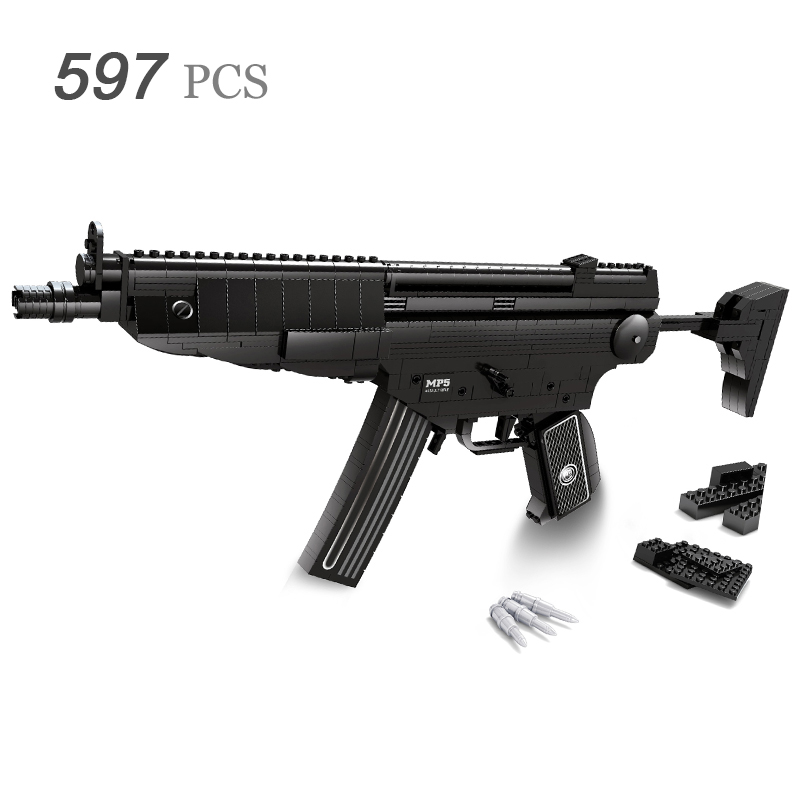 все цены на Sniper Assault Rifle GUN Weapon Arms Model 1:1 3D 597pcs Model Brick Gun Building Block Set Toy Gift For Children онлайн