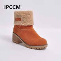 IPCCM Low Tube Thick Heel Student Warm Comfortable Women's Boots Flanging Waterproof Platform Round Head Bootie Size 34 43