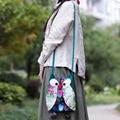 2016 New Vintage National ethnic owl canvas cloth bag handmade shoulder messenger bag cute small animal Travel handbag