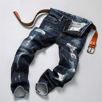 Hip hop jeans streetwear Slim Fit Ripped cool Jeans Men High Street Mens Distressed Denim pants Holes Washed Destroyed Jeans