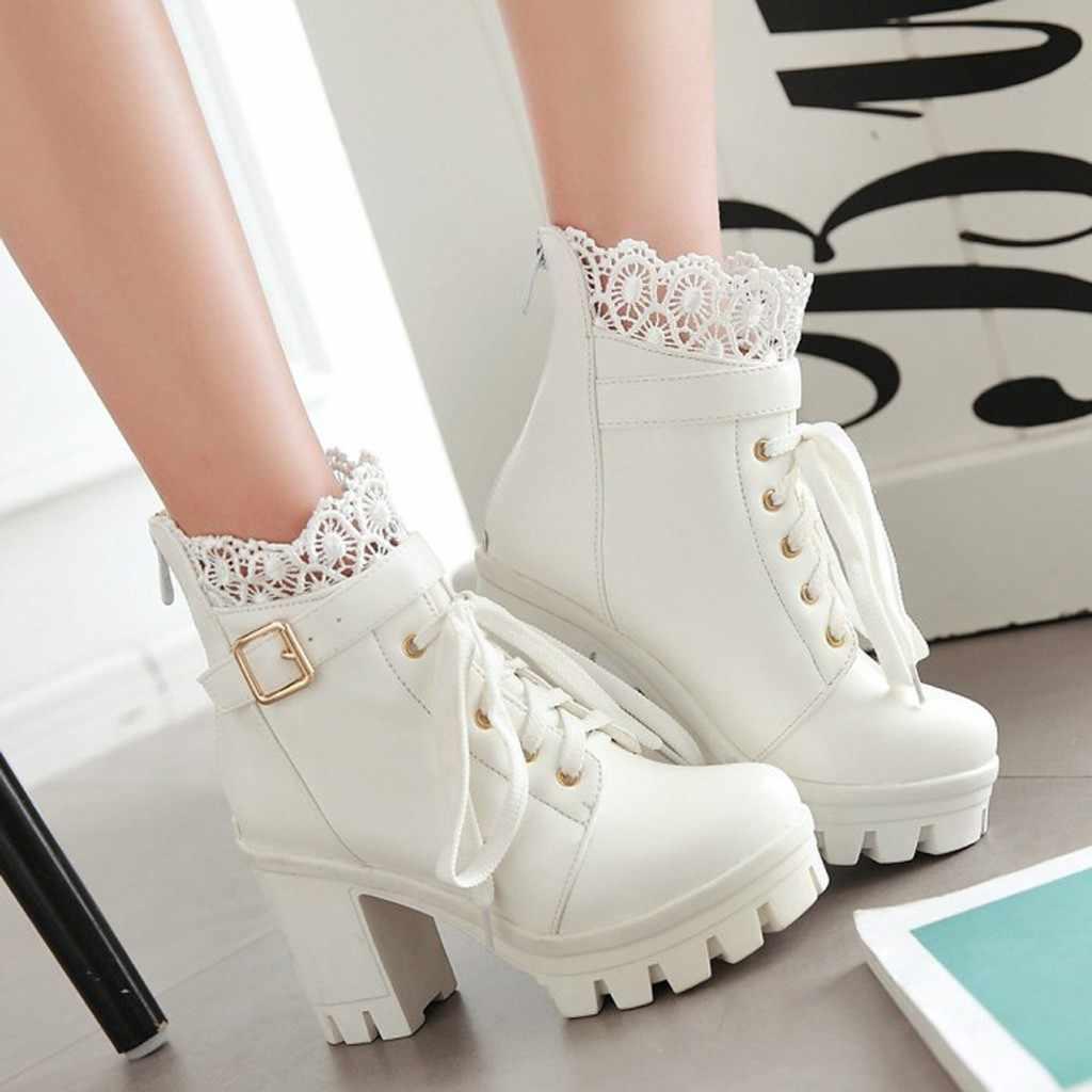 Moda bayan Botları Kalın Yüksek Topuk ayak bileği bağcığı Botları Platformu Dantel Öğrenci Kadın Rahat PU Deri Sonbahar Ayakkabı C50 #