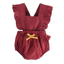 Bandages  Bodysuits Baby Girls Fashion Butterfly knot wine red color cotton girl Conjoined Clothes Female Funny outfit
