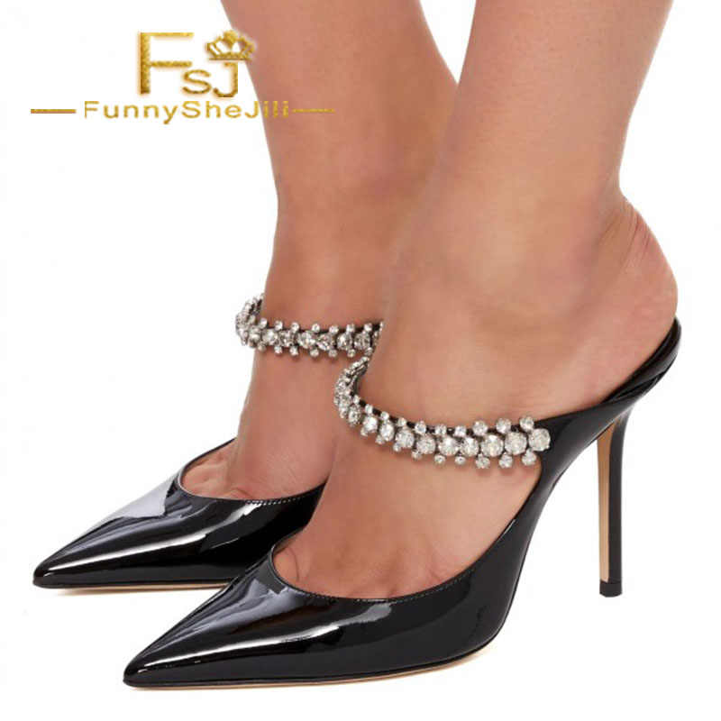 b9db0fec2e776 Black Patent Leather Crystal Embellished Stiletto Heel Mules Summer Women  Shoes Generous Noble Incomparable Black Friday